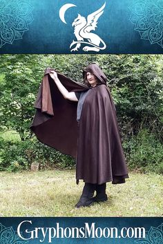 Black/Brown Full Circle Cloak with Pixie Hood - There's just something about slipping a cloak around your shoulders that makes you feel… different. More powerful. More magical. More alive. Suddenly, you want to conquer kingdoms, or weave spells, or dance in the moonlight. Visit our site today to see all our hand-made, one-of-a-kind cloaks. #Cloak #Cape #Halloween #Samhain #SCAGarb #MedievalGarb #HandMade #LARP Work Hardening, Samhain Halloween, Dancing In The Moonlight, Pixie Styles, Looks Black, Black And Brown, Dark Brown, Handmade Copper, Cloaks