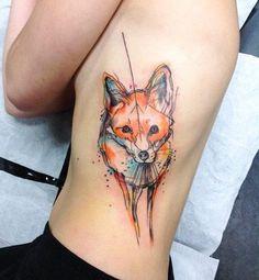 Watercolor fox tattoo by Simona Blanar