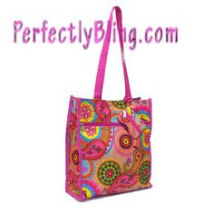 ** NEW ARRIVAL **   BRIGHT COLORED RETRO FLOWER  TRAVEL TOTE BAG $9.99