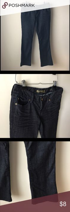 """Express dark wash boot cut jean Dark wash """"Stella Barely Boot"""" style jeans - button/zip fly closure - 5 pocket style - waist across measures 16.5"""" - front rise measures 8"""" - inseam measures 30"""" - size 8S Express Jeans Boot Cut"""