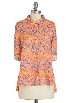 Splendid Idea Top. Sporting this feminine button up to bring cheer to those around you is the most brilliant notion youve had all morning! #orange #modcloth