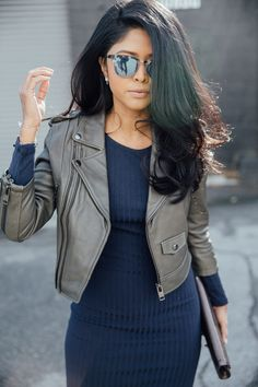 Cropped mocha leather jacket+navy blue dress