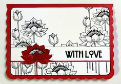 Chocolate Baroque Design Team: Floral Notes With Love card created for Chocolate . Quick Cards, Diy Cards, Art Deco Cards, Baroque Design, Love Cards, Blank Cards, Craft Tutorials, Paper Flowers, Cardmaking
