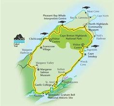 Map of the Cabot Trail on Cape Breton in Nova Scotia Cabot Trail, Cape Breton, Nova Scotia, Vacations, Public, Map, Adventure, Holidays, Vacation