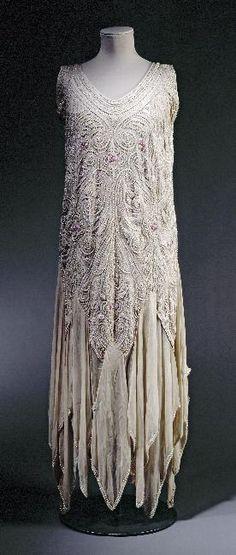 Evening dress 1929 - very similar to my Grandmother's wedding dress. Art Deco Lovely!