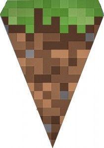 Faça uma festa de aniversário Minecraft em casa, com dicas de decoração simples e criativas. Modelo de Bandeirola.