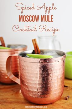 A delightfully refreshing drink for fall: Spiced Apple Moscow Mule!  This cocktail recipe is made with #PinnacleVodka, apple cider, ginger beer, and a spiced simple syrup. AD #PinnacleCocktailClub @pinnaclevodka