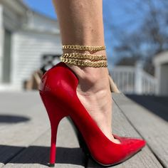 Ankle Bracelets Gold, Ankle Jewelry, Chunky Jewelry, 14k Gold Jewelry, Gold Anklet, Anklets, Tie Up Heels, Very High Heels, Ankle Chain