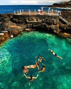 Natural swimming pool - Charco Azul, Tenerife, La Palma, Canary Islands Must swim in this Places Around The World, Oh The Places You'll Go, Places To Travel, Places To Visit, Dream Vacations, Vacation Spots, Wonderful Places, Beautiful Places, Teneriffe
