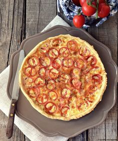 Cherries Tomatoes and Baked Ham Quiche