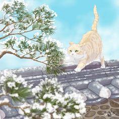 Beautiful Cats, Beautiful Artwork, Fluffy Animals, Cute Animals, Image Deco, Japanese Cat, Japon Illustration, Cat Wallpaper, Cat Drawing