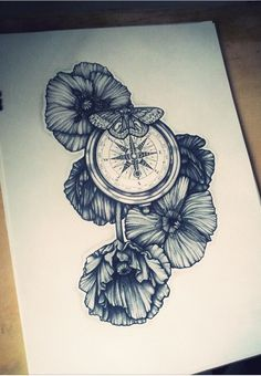 Compass and flowers