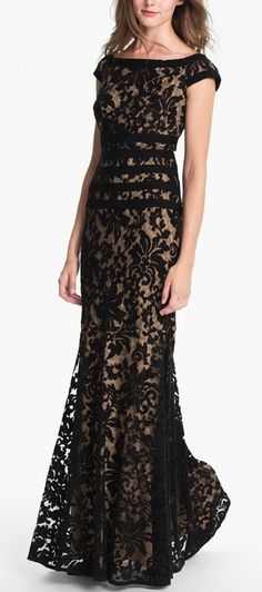 This is such a gorgeous black and nude lace dress. #youresopretty