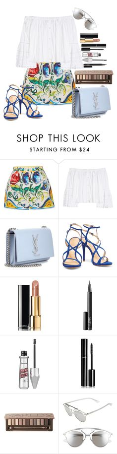"""Untitled #1536"" by fabianarveloc on Polyvore featuring Dolce&Gabbana, Carolina Herrera, Yves Saint Laurent, Schutz, Chanel, NARS Cosmetics, Benefit, Urban Decay and Christian Dior"