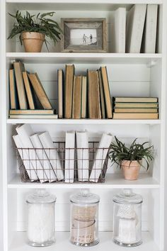Craft Room Shelf with Ribbons in Jars