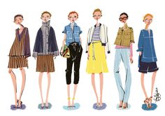 J. CREW 2015 S/S Ready to Wear ©Illustrated by Minjee Kang. All Rights Reserved