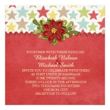 Christmas Red Stars Damask Wedding Invite