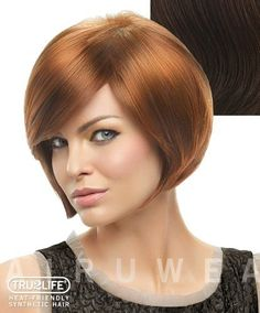 """Tru2Life Styleable Wigs - Layered Bob - R6/30H Chocolate Copper by HairDo. $76.65. Ideal Face Shape: Oval, Round, Diamond, Heart; Stands up to heat and humidity and offers some styling versatility; Approx. Length: Front 5.25"""" Crown 6.5"""" Side 5"""" Back 5"""" Nape 2""""; Open wefting throughout the sides and back allow ventilation; Heat Friendly Synthetic Wig. Layered Bob Wig by hairdo ® is a beautiful updated bob style. Made with heat friendly synthetic fiber that looks, moves and fe..."""