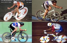 Pre-Lugano Charter (1996) hour record bikes (clockwise from top right: Moser, Obree, Indurain, Boardman)