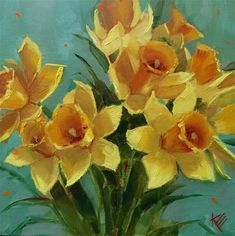 "Daily Paintworks - ""Daffodils on Blue"" - Original Fine Art for Sale - © Krista Eaton"