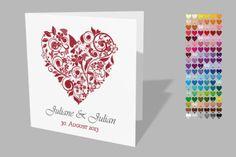 """Einladungskarte zur Hochzeit 12,5x12,5cm """"Juliane"""" von Exklusive Papeterie auf DaWanda.com"""