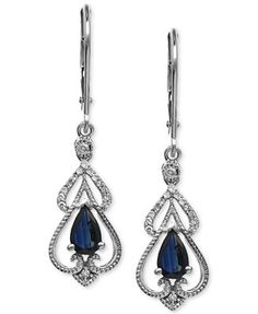 Light up the night. This striking earring pair flaunts pear-cut sapphire (1 ct. t.w.) lavished with shimmering, single-cut diamonds (1/10 ct. t.w.) for a dramatic, dazzling effect. Set in 14k white go