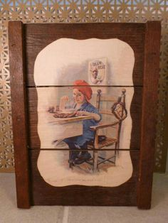 Raisinrak Antique Raisin Tray Frame Cream of Wheat Ad Baseball Young Boy (not in my collection, but nice & on my wishlist) Dried Raisins, Cream Of Wheat, Wooden Rack, Young Boys, Decoupage, 1970s, Tray, California, Baseball