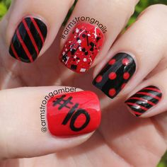 Black and Red for my daughter's soccer team. -- by Amber Armstrong. Find me on Instagram@armstrongnails