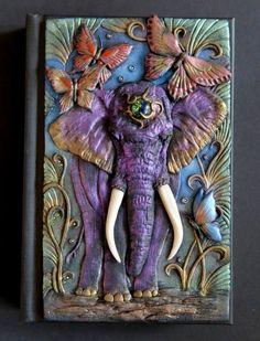 Elephant princess polymer clay journal notebook by ClaymanPL