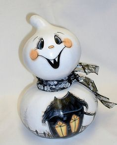 Vampire Ghost Gourd with Haunted House  Hand by FromGramsHouse