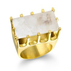Castle Ring, Gold, Moonstone, Size 7 - Artisan Design Gallery