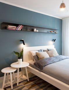 Kuma Nordic House - Scandinavian Design by Rosu-Ciocodeica Master Suite Bedroom, Narrow Bedroom, Blue Bedroom, Bedroom Decor, Bedroom Ideas, Nordic Bedroom, Garage Bedroom, Interior Styling, Interior Design