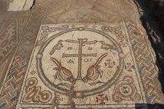 "ANCIENT CHURCH MOSAICS UNCOVERED IN ISRAEL - year old Byzantine church unearthed with an intricate mosaic that bears a Christogram - a ""type of monogram of the name of Jesus"". The church served as a center for Christian worship Early Christian, Christian Art, Stone Mosaic, Mosaic Art, Byzantine Architecture, Chi Rho, Site Archéologique, Photo Mosaic, Early Middle Ages"