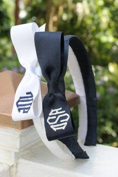 Diamond Monogram Bow Headband by devonalana on Etsy
