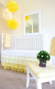 AlainaCerise on etsy - 3 tiered crib skirt; love the skirt and I'm thinking pink with yellow and white polka dot? A pink lemonade room? Nursery Room, Girl Nursery, Girls Bedroom, Baby Room, Nursery Decor, Nursery Ideas, Bedroom Decor, Coral Y Oro, Yellow Nursery