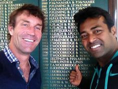Pat Cash and Leander Paes at Wimbledon.  #tennis #wimbledon #patcash #sport