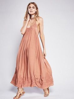 Bohemian Style Pink Spaghetti Strap Embroidered Maxi Dress