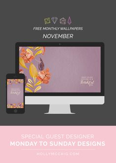 It's time to glam up your computers and tech gadgets! Amy Coe of Monday to Sunday Designs and I have created another awesome new free wallpaper set you'll want to display in your office!