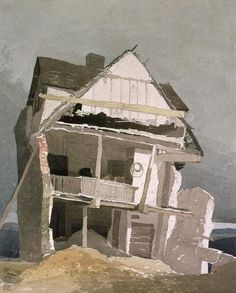Black and white - house - The demolished hut - John Sell Cotman - painting