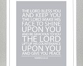 Nursery Decor - Baptism Gift - Bible Verse - Numbers 6 - 11x14 Print