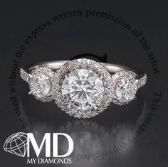 2.00 CT CERTIFIED H/SI DIAMOND ENGAGEMENT RING THREE STONE ROUND CUT 14K GOLD | eBay