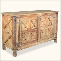 Rustic Reclaimed Wood Dallas Ranch Branded X Buffet Storage Cabinet
