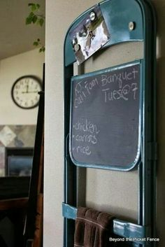 Metal folding chair becomes chalkboard, towel rack and magnetic board!
