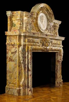 A Rare and Impressive Sarrancolin Opera Marble Chimneypiece in the Baroque manner. Fireplace Hearth, Stove Fireplace, Fireplace Surrounds, Fireplace Design, Fireplace Screens, Victorian Home Decor, Victorian Homes, French Interior Design, Miami Houses