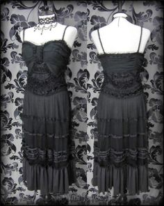 Ghostly Goth Black Lace Silk Tulle Frill Bodice Dress 10 12 Romantic Victorian   THE WILTED ROSE GARDEN on eBay // Worldwide Shipping Available