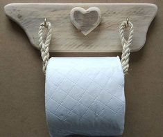 Rustic & Raw Toilet Roll Holder Cradle Wood Driftwood Rustic Heart Cute Shabby