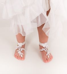 Baby Lace barefoot sandals -Toddler footless sandals -Kids shoes -Flower girl barefoot sandals -Beach wedding french lace footless sandal by BBbyBarmine on Etsy https://www.etsy.com/listing/267507192/baby-lace-barefoot-sandals-toddler