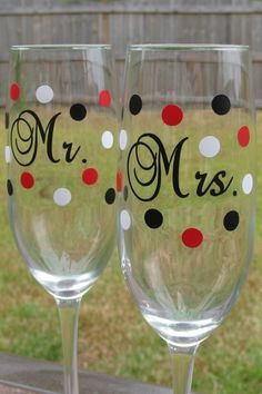Mr. and Mrs. Champagne glasses  by SimpleandSassyGifts on Etsy, $24.00