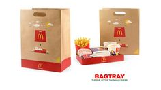 BagTray - an inventive solution to make takeaway more convenient   DDB Budapest decided to take a fresh look on the McDonald's takeaway experience  as an unexplored touchpoint. Their ambition was to create a new, positive brand experience and this is how BagTray was born.  The simple and clever invention is a red paper tray  which is attached to the bottom of the bag. The bag part can be removed with one simple movement and you can have the food on a tray.  As the client-agency team stated…