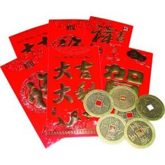 The red envelopes symbolizes good luck, energy, and happiness. Chinese coins is to ward off evil spirits. The five coins is lucky number which means congratulations and it is also associated with the five elements. Each coin is hand cast of metal.